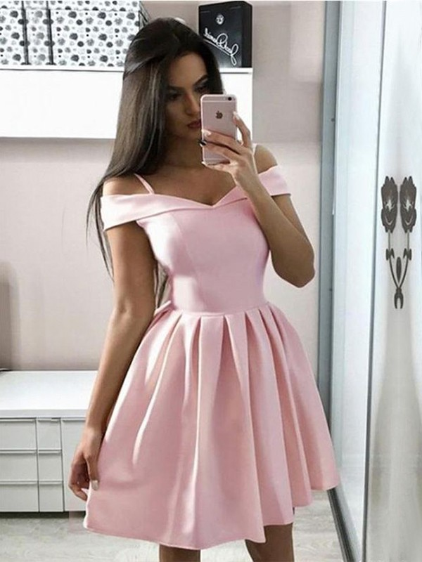 A-Line/Princess Satin Ruffles Off-the-Shoulder Sleeveless Short/Mini Homecoming Dresses