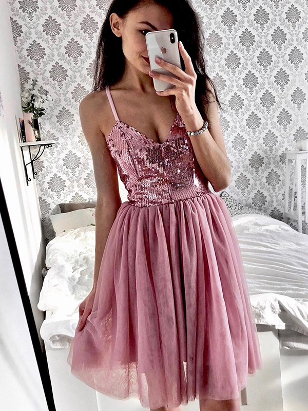 A-Line/Princess Tulle Sequin Spaghetti Straps Sleeveless Short/Mini Homecoming Dresses