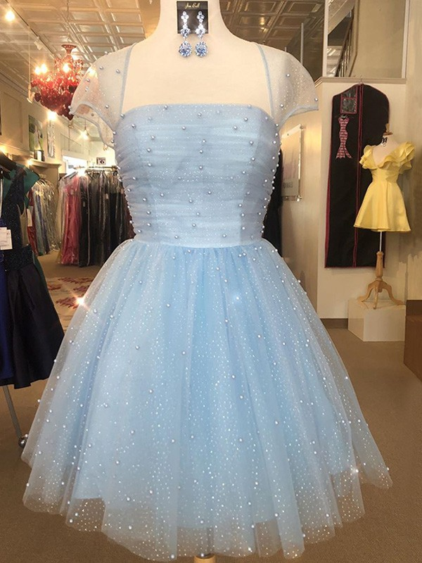 A-Line/Princess Tulle Strapless Short Sleeves Beading Short/Mini Homecoming Dresses