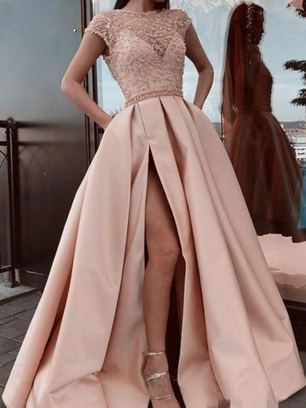 A-Line Scoop Neck Satin Beading Short Sleeves Long Formal Ball Dress