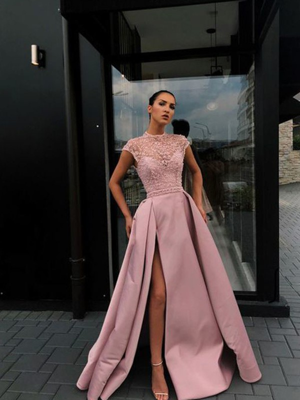 A-Line Beading Satin Scoop Short Sleeves Long Formal Evening Dress