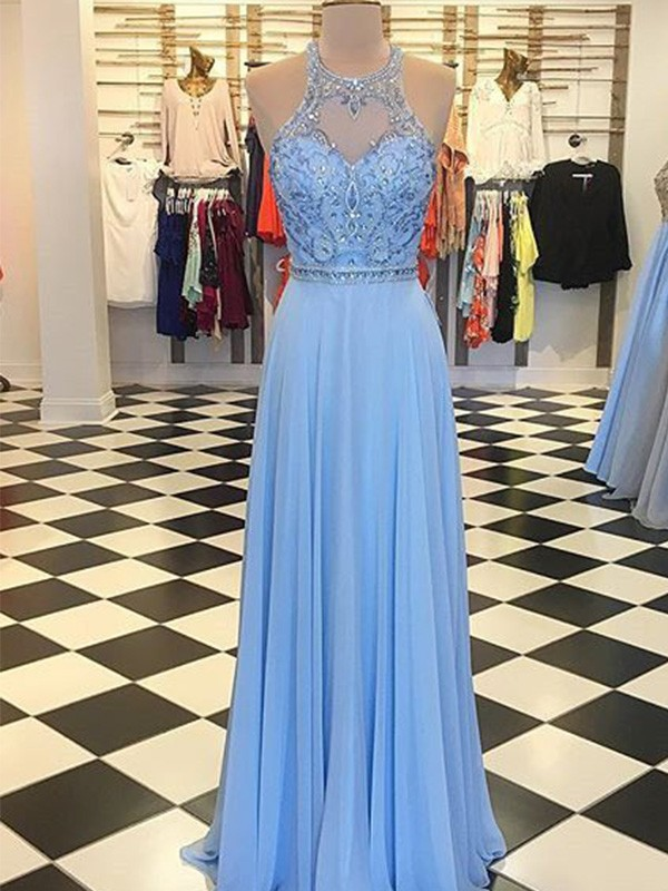 A-Line Halter Sleeveless Chiffon Beading Floor-Length Formal Evening Dress