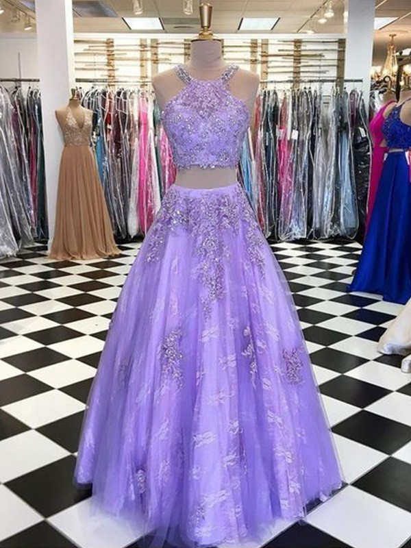 A-Line Halter Sleeveless Tulle Beading Long Two Piece Formal Ball Dress