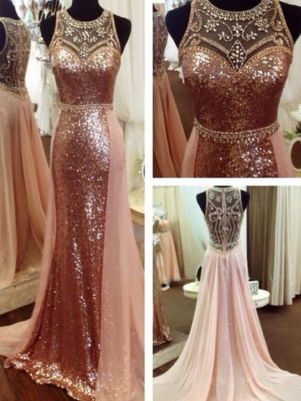 A-Line Scoop Sleeveless Beading Sequins Long Formal Evening Dress
