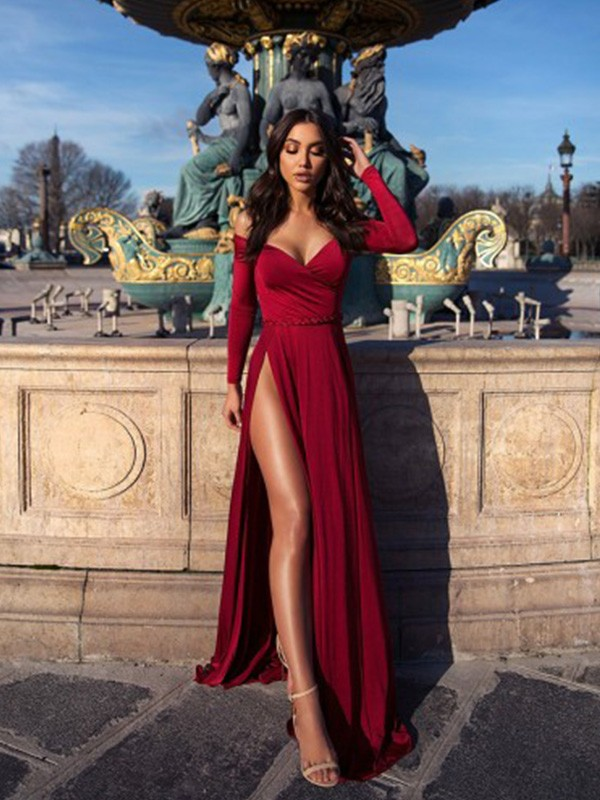A-Line Ruched Off-the-Shoulder Long Sleeves Elastic Woven Satin Long Dresses