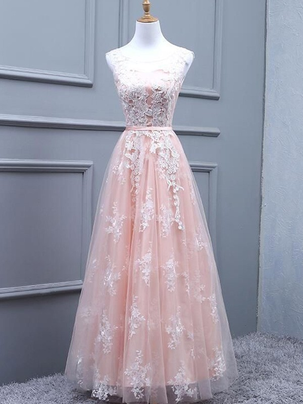 A-Line Scoop Sleeveless Tulle Floor-Length Applique Formal Ball Dress
