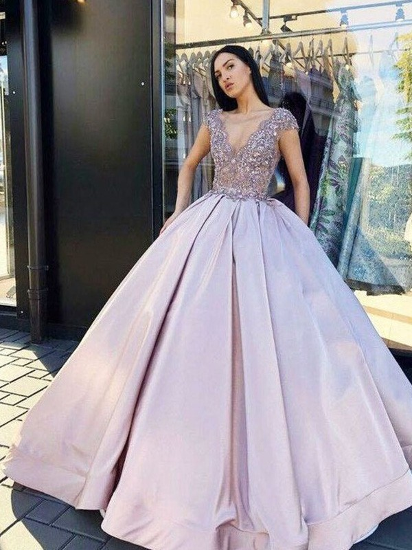Ball Gown Satin Beading V-neck Floor-Length Short Sleeves Dresses