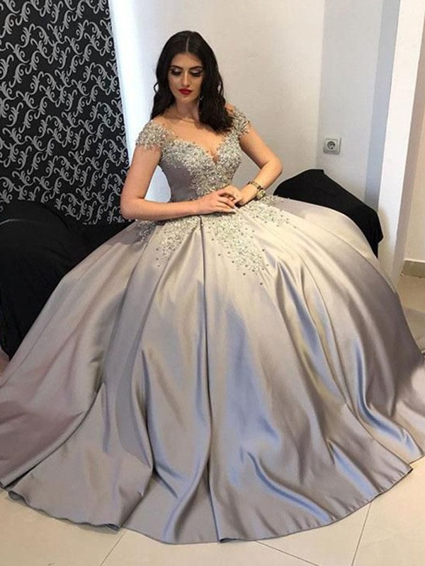 Ball Gown Satin Off-the-Shoulder Sleeveless Beading Long Dresses