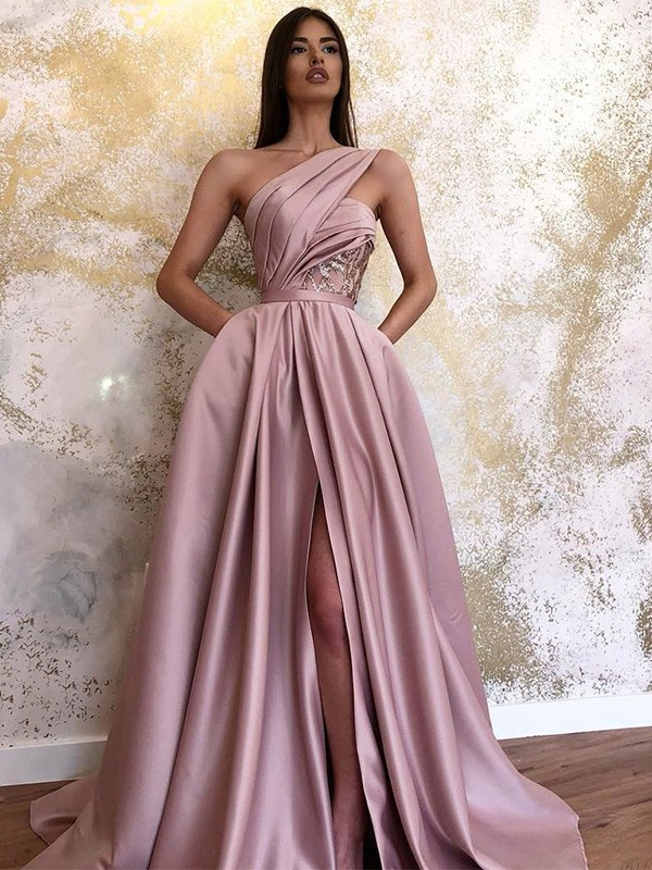A-Line Satin One-Shoulder Sleeveless Ruched Long Formal Ball Dress