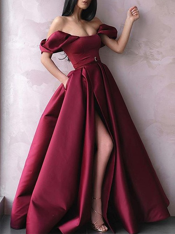 A-Line Sash/Ribbon/Belt Off-the-Shoulder Sleeveless Satin Long Dresses