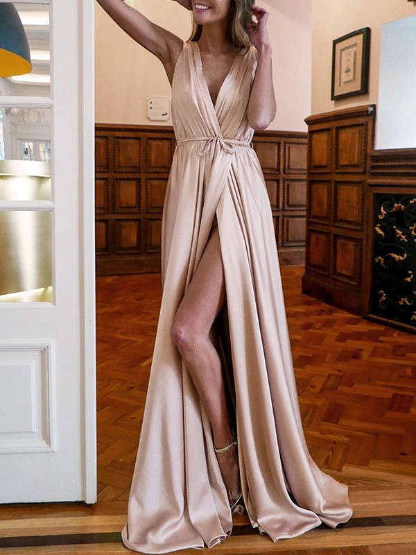 A-Line V-neck Ruffles Satin Sleeveless Long Formal Evening Dress
