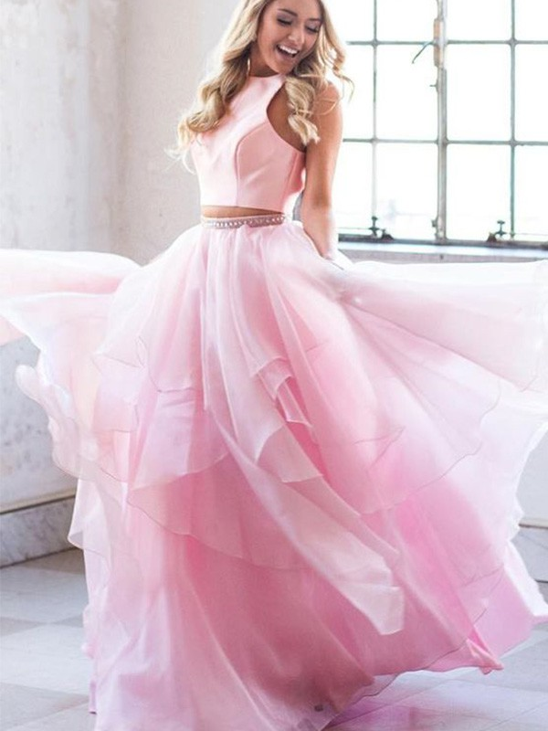 A-Line Beading Scoop Tulle Sleeveless Long Two Piece Dresses