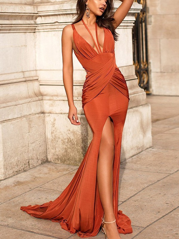 Mermaid/Trumpet Ruched Sleeveless Satin V-neck Sweep/Brush Train Dresses