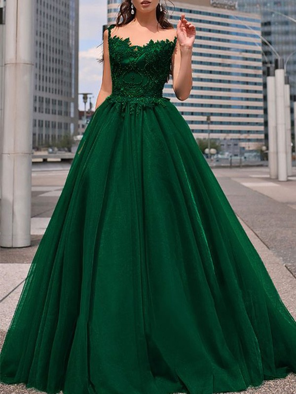 A-Line Bateau Tulle Beading Floor-Length Sleeveless Formal Ball Dress