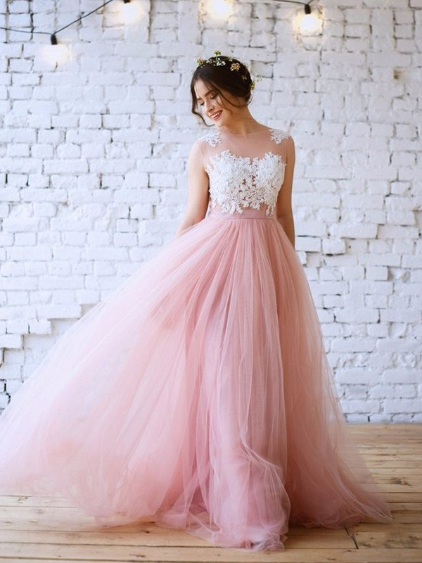 A-Line Applique Bateau Sleeveless Tulle Long Formal Ball Dress