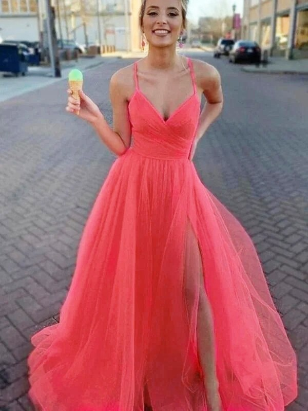 A-Line Sleeveless Tulle V-neck Ruched Sweep/Brush Train Dresses