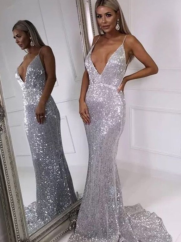 Mermaid/Trumpet Ruffles V-neck Sweep/Brush Train Sleeveless Sequins Dresses
