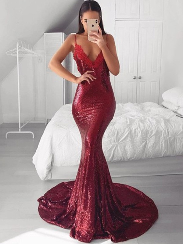 Mermaid/Trumpet V-neck Sequins Applique Sweep/Brush Train Sleeveless Dresses