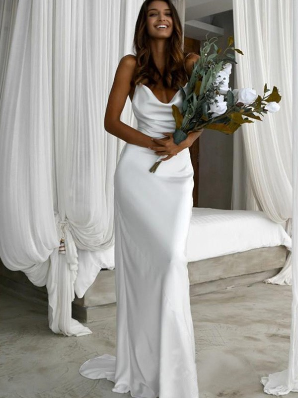 Sheath/Column Satin Ruched Spaghetti Straps Sweep/Brush Train Sleeveless Wedding Dresses