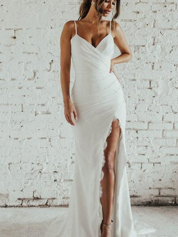 Sheath/Column Spaghetti Straps Ruched Sleeveless Spandex Long Wedding Dresses