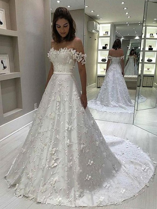 A-Line Satin Off-the-Shoulder Sleeveless Sweep/Brush Train Wedding Dresses with Applique