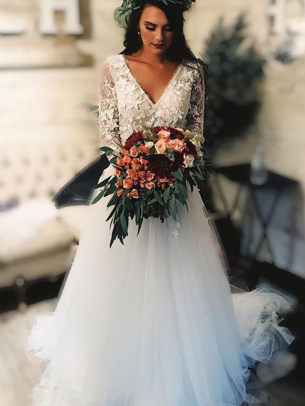 A-Line Tulle V-neck Long Sleeves Sweep/Brush Train Wedding Dresses with Applique