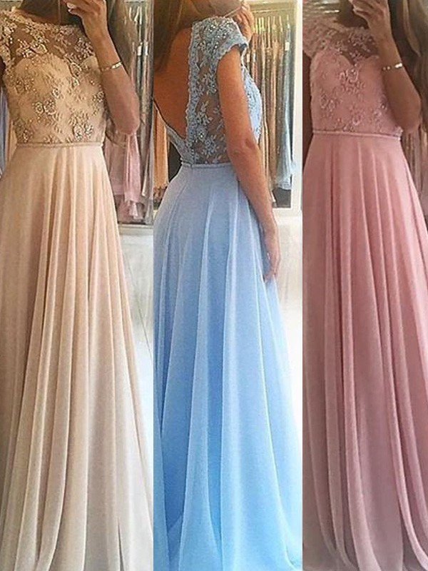 A-Line/Princess Sleeveless Scoop Floor-Length Beading Chiffon Dress