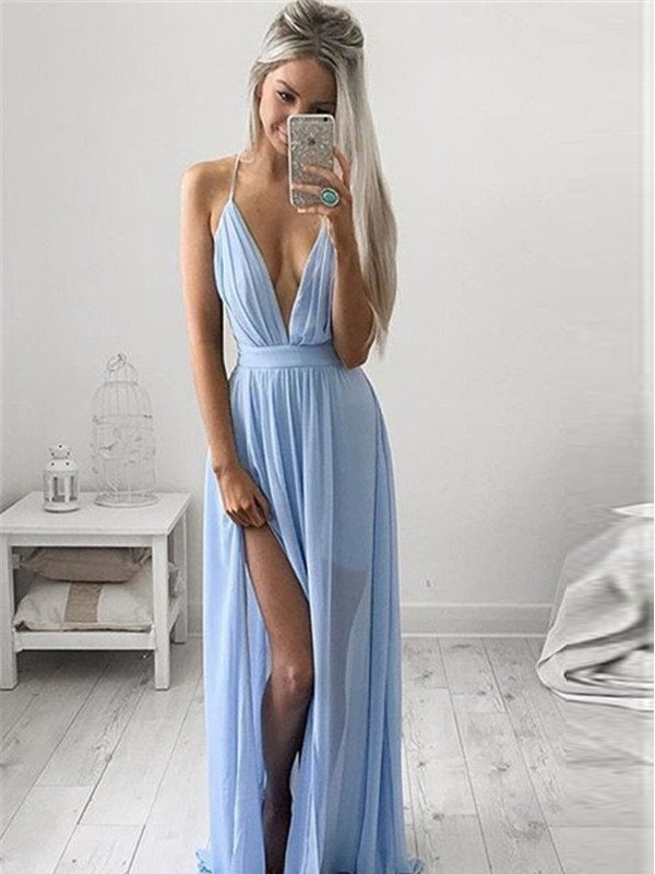 A-Line/Princess Spaghetti Straps Sleeveless Chiffon Ruched Floor-Length Dress