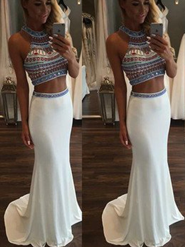 Mermaid Sleeveless Halter Beading Sweep/Brush Train Chiffon Two Piece Dresses