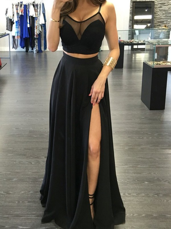 A-Line/Princess Spaghetti Straps Sleeveless Floor-Length Chiffon Two Piece Dress