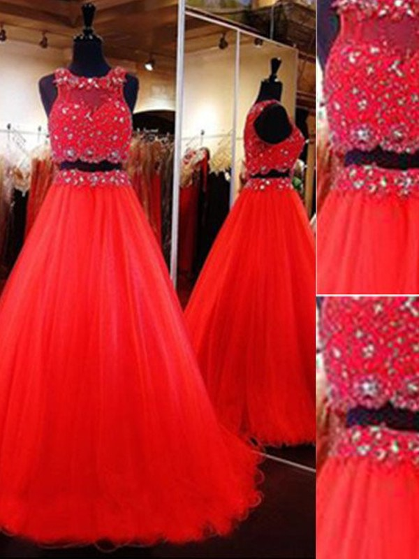 A-Line/Princess Scoop Sleeveless Floor-Length Beading Tulle Two Piece Dress