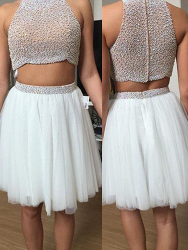 A-Line/Princess Sleeveless High Neck Tulle Beading Short/Mini Two Piece Dress
