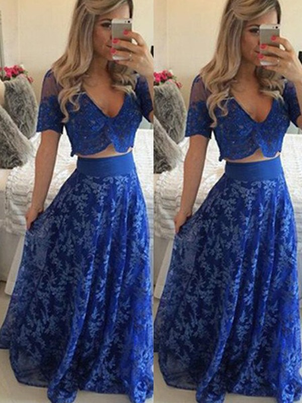 A-Line/Princess V-neck Short Sleeves Floor-Length Lace Two Piece Dress