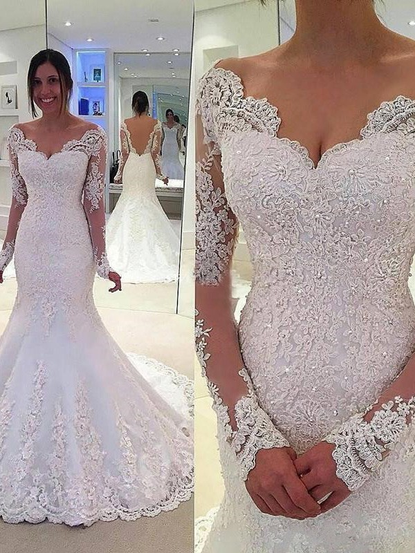 Mermaid V-neck Long Sleeves Lace Court Train Tulle Wedding Dresses