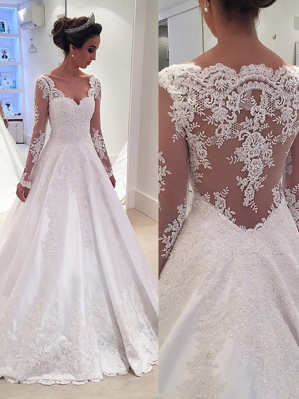 Ball Gown Long Sleeves Lace Court Train Satin Wedding Dresses
