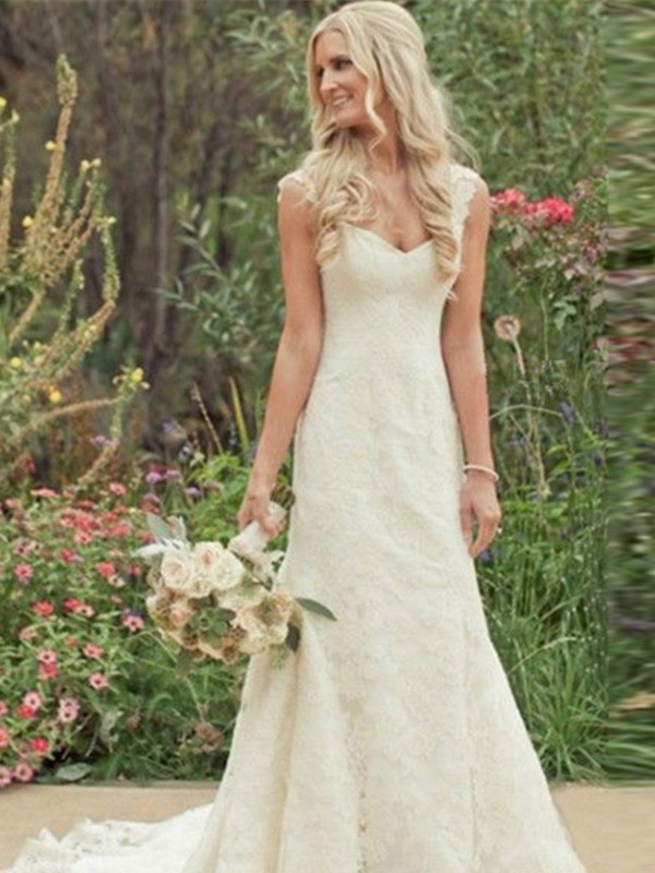 Trumpet Sleeveless Sweep/Brush Train V-neck Lace Wedding Dresses