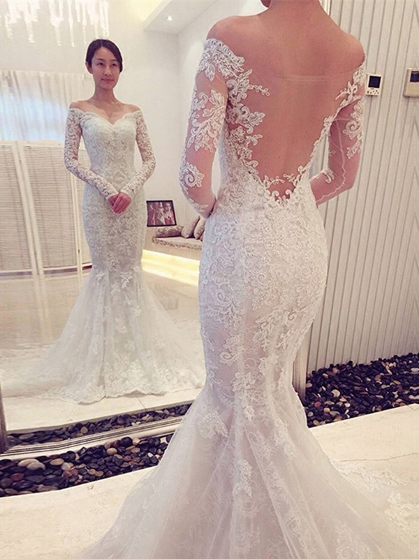 Trumpet/Mermaid Off-the-Shoulder Long Sleeves Chapel Train Lace Wedding Dresses