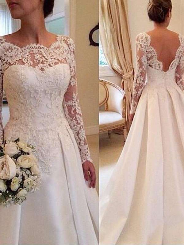 Ball Gown Scoop Long Sleeves Court Train Satin Lace Wedding Dresses