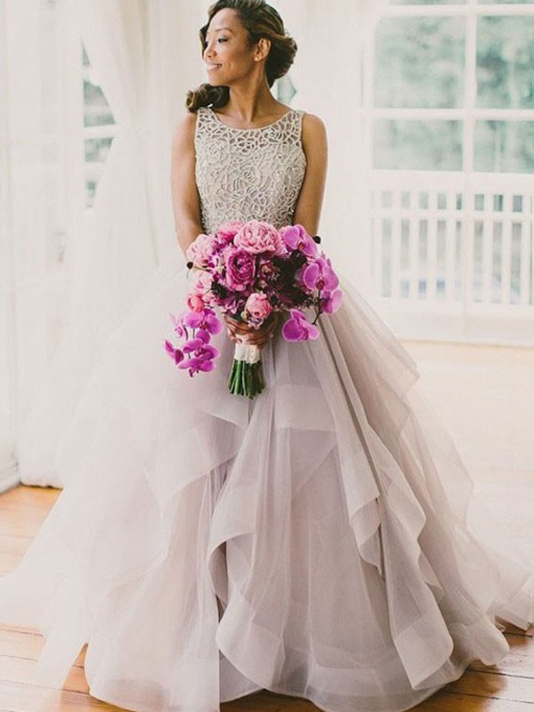 Ball Gown Sleeveless Scoop Beading Sweep/Brush Train Tulle Wedding Dresses