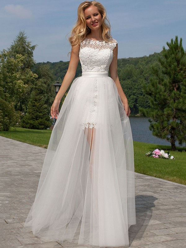 Sheath Sleeveless Lace Scoop Floor-Length Tulle Wedding Dresses