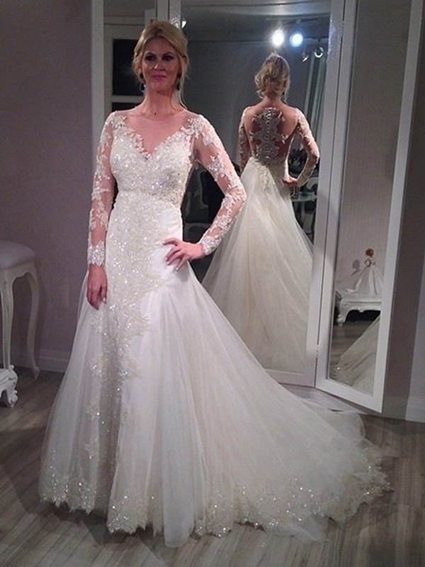 A-Line V-neck Sweep/Brush Train Long Sleeves Sequin Tulle Wedding Dress