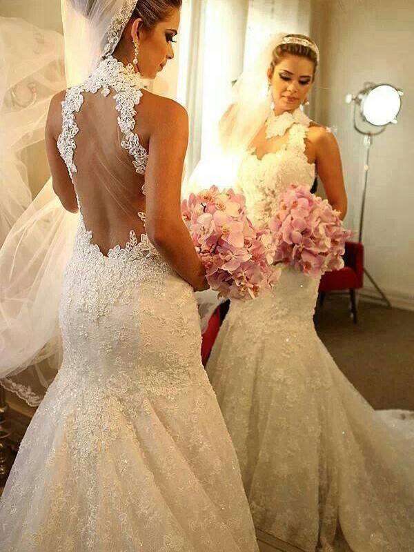 Mermaid High Neck Sleeveless Lace Court Train Wedding Dresses