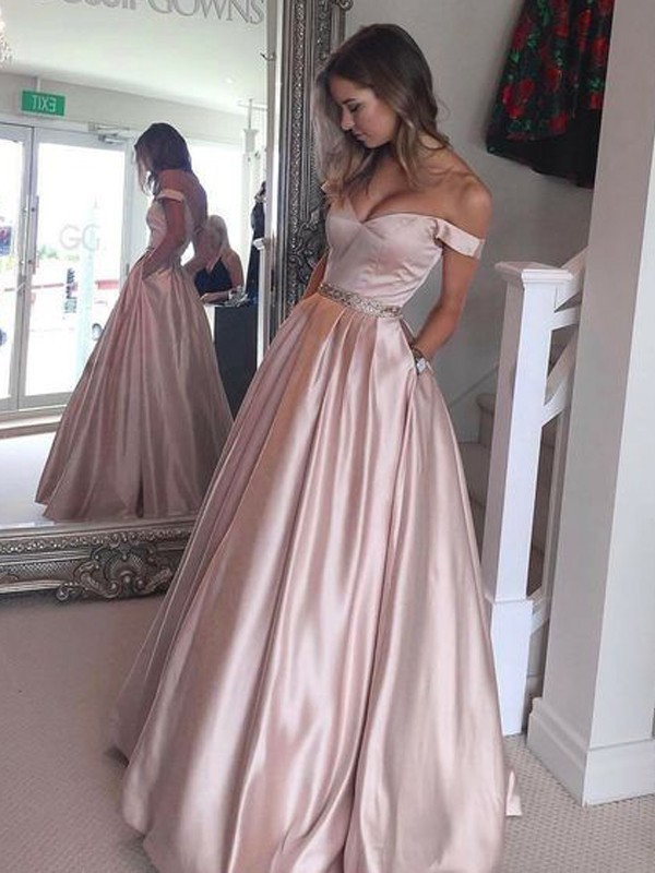 Floor-Length A-Line/Princess Off-the-Shoulder Sleeveless Other Satin Dresses