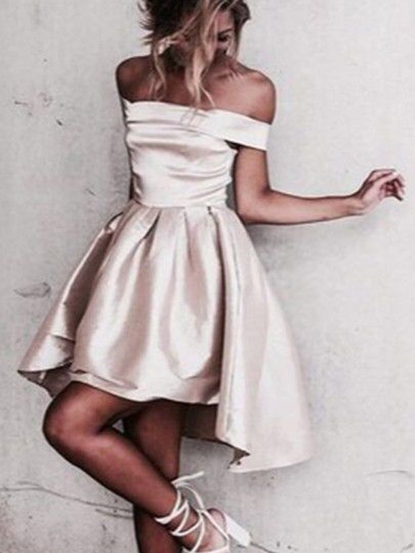 A-Line/Princess Satin Off-the-Shoulder Sleeveless Short/Mini With Ruffles Dresses