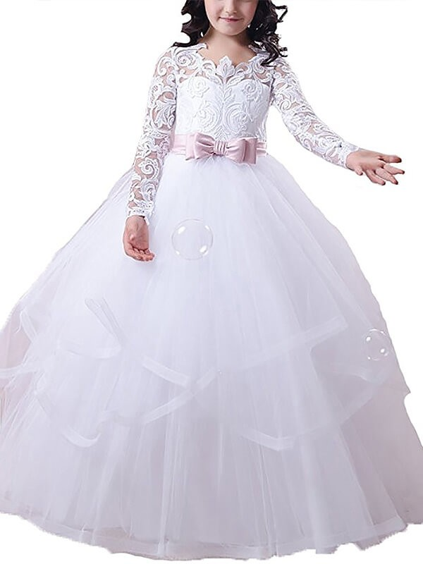 Ball Gown Long Sleeves Jewel Lace Floor-Length Tulle Flower Girl Dresses