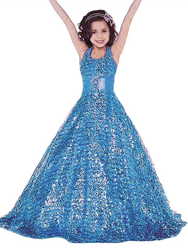 Ball Gown Sleeveless Halter Floor-Length Sequins Flower Girl Dresses