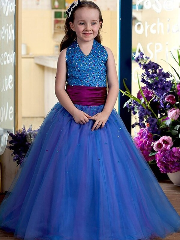 Ball Gown Sleeveless Halter Floor-Length Sequins Tulle Flower Girl Dresses