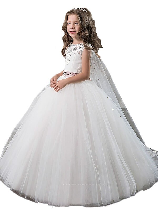 Ball Gown Jewel Sleeveless Floor-Length Beading Tulle Flower Girl Dresses