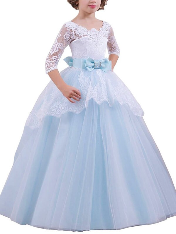 Ball Gown Jewel 1/2 Sleeves Floor-Length Lace Tulle Flower Girl Dresses