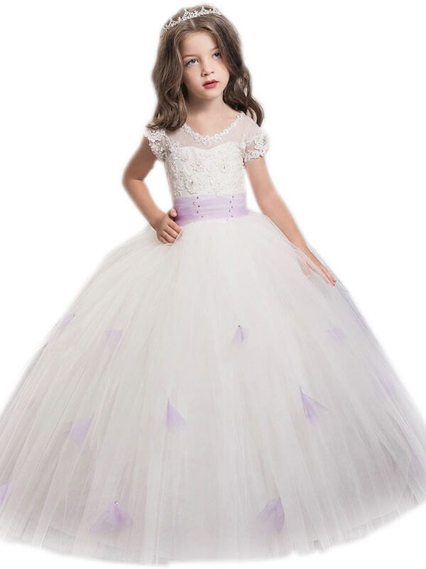 Ball Gown Short Sleeves Jewel Sash/Ribbon/Belt Floor-Length Tulle Flower Girl Dresses